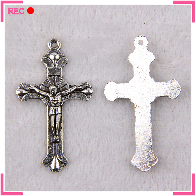 Sterling imitate silver cross pendant for necklace, imitate antique silver jesus cross pendant