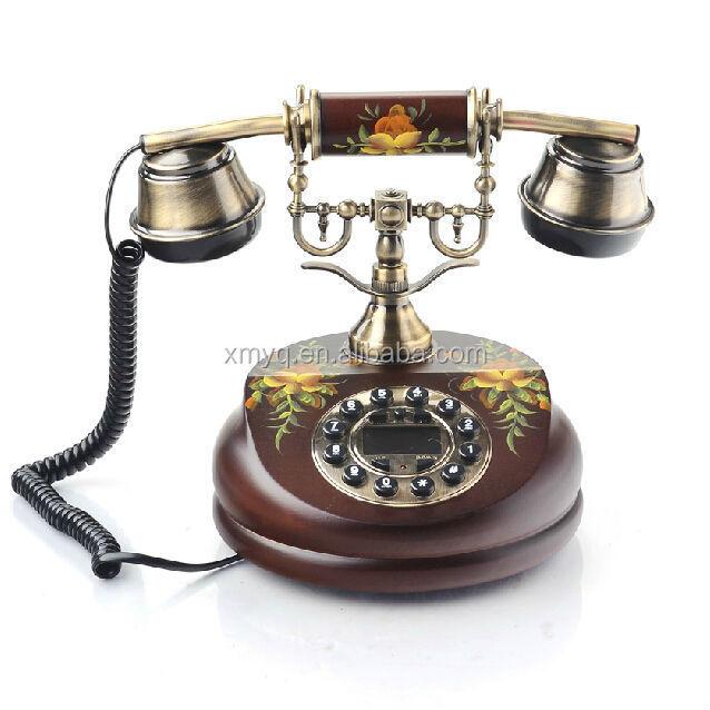 telefono vintage in legno antico scrivania riproduzione retr telefono da tavolo telefoni con. Black Bedroom Furniture Sets. Home Design Ideas