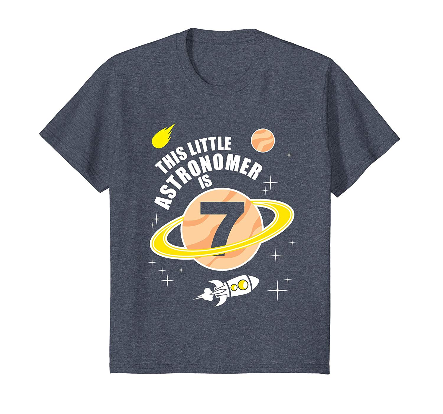 Kids 7th Birthday Boys Astronomy T Shirt Space 7 Year Old