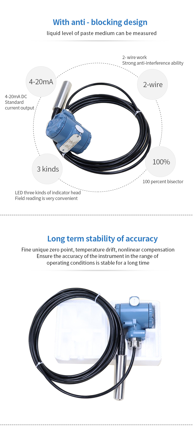 4-20ma submersible water level transmitter probe price