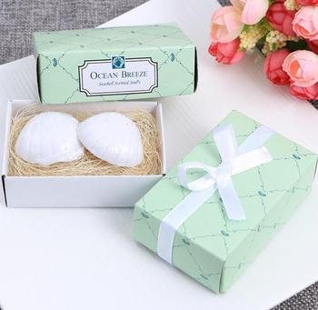 beach themed bridal shower favors ocean breeze scented seashell shaped small gift soap