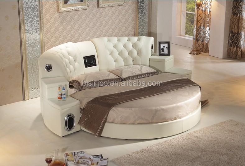 Bisini Mage Genuine Leather Dvd Round Bed With Speaker Hotel