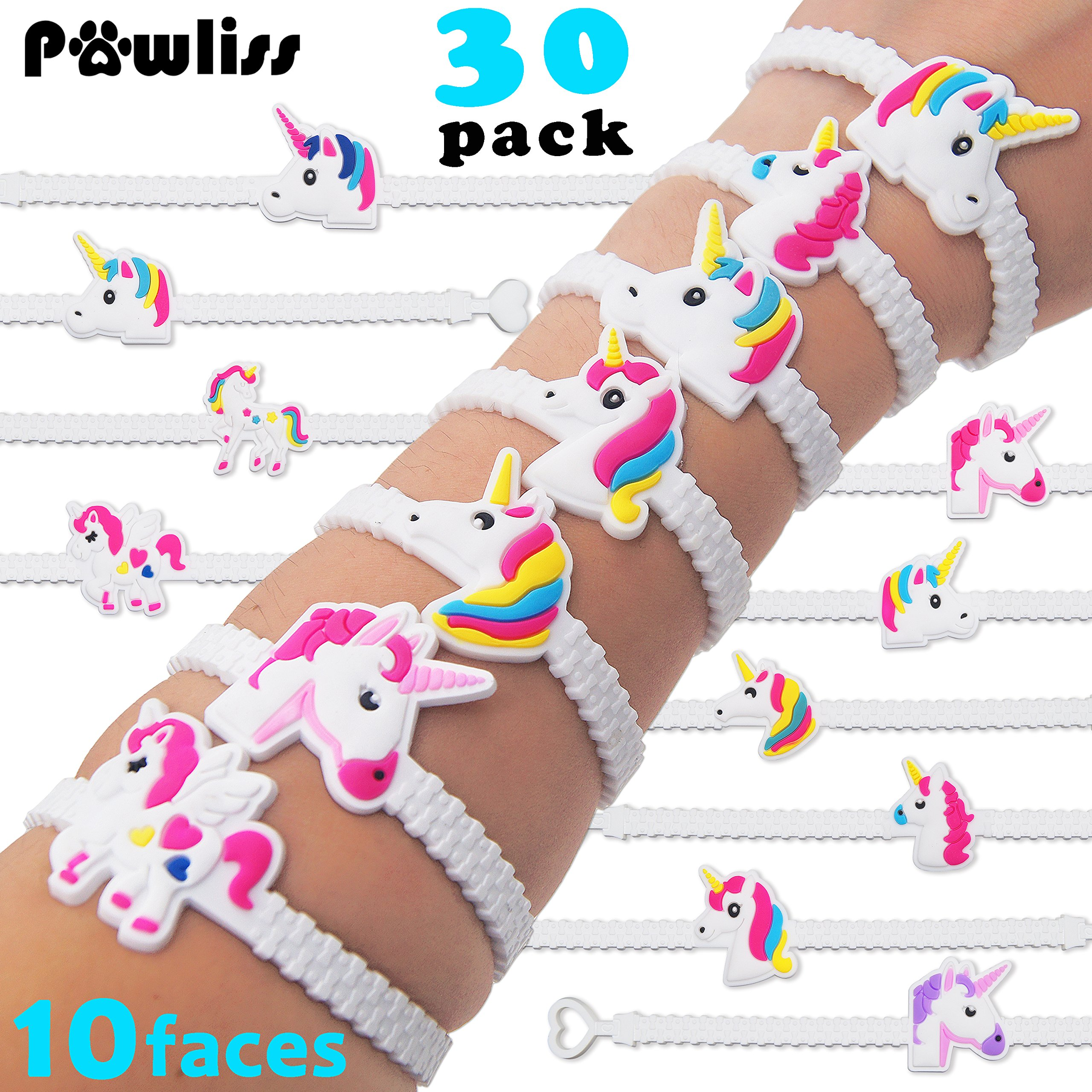 get quotations pawliss emoji bracelets wristband unicorn birthday party favors supplies for kids girls emoticon toys