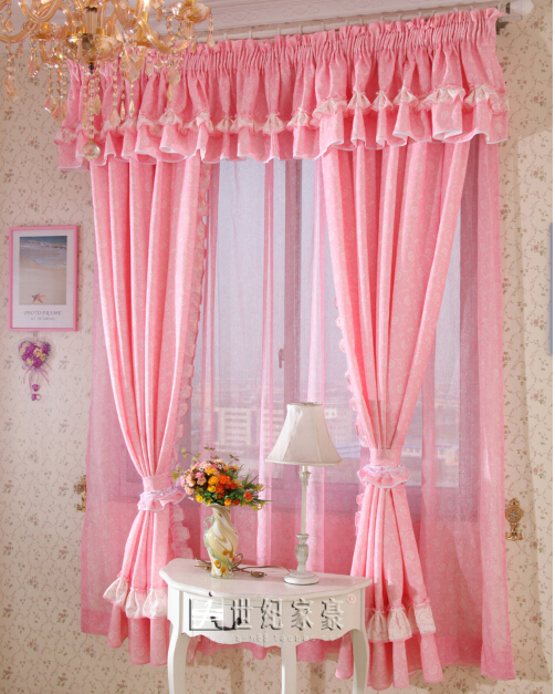 Fashion Curtain Pink Rustic Bedroom White Princess Ruffle Customize The Finished