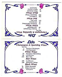 Lido De Paris Table Top Champagne & Wine List Stardust Hotel Las Vegas Nevada
