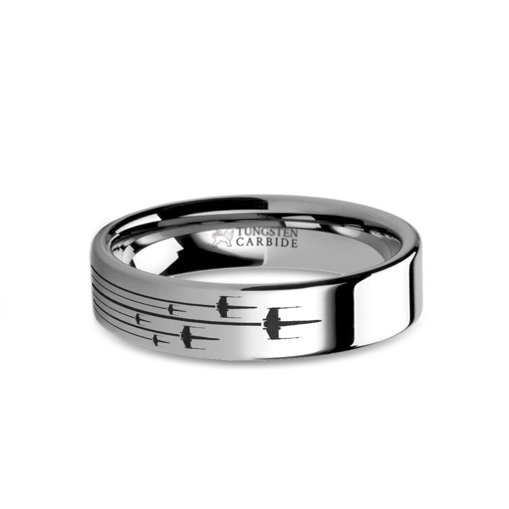 Hanover Jewelers Star Wars Rogue X-wing Squadron Laser Engraved Tungsten Ring - 6 mm