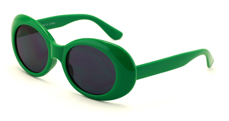 ca0fd69bcbc64 Get Quotations · V.W.E. Vintage Sunglasses UV400 Bold Retro Oval Mod Thick  Frame Sunglasses Clout Goggles with Dark Round