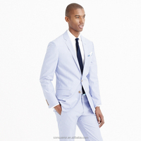 Fashion Stylish Blue White Pinstriped Custom Made Men Suit