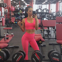 2019 wholesale women Sexy Two Piece Outfits Crop Top Breathable Sports Bra Sweatsuit long yoga legging