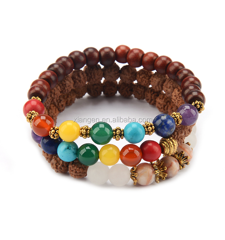 Wholesale wood bracelet made of natural stones,7 chakra healing stone bracelet for yoga