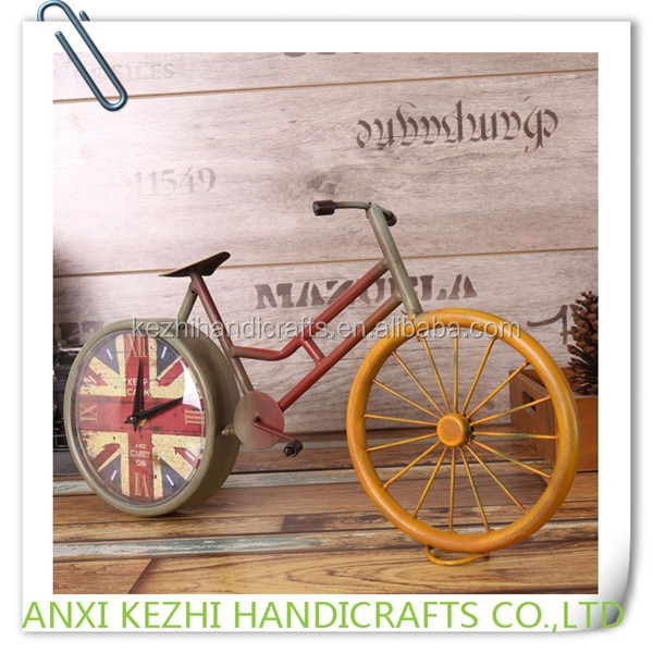 Wrought Iron Bicycle Desk Clock Metal Crafts Creative Gifts