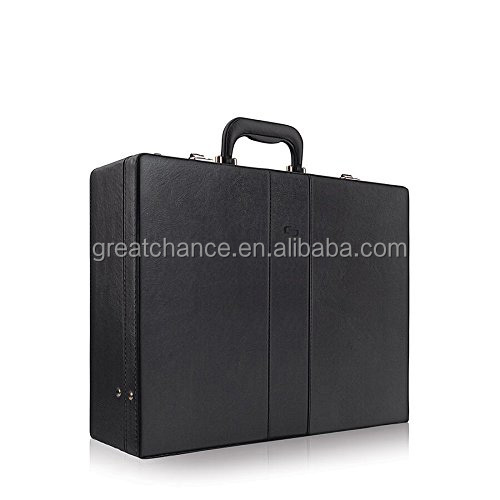 Grand Central leather Attache case, leather briefcase, Hard-sided with Combination Locks, Black(XY-494)