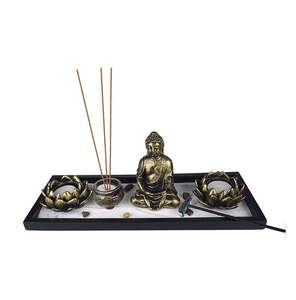 Resin Buddha Statue Lotus Candle Holder And Incense Burner Holder