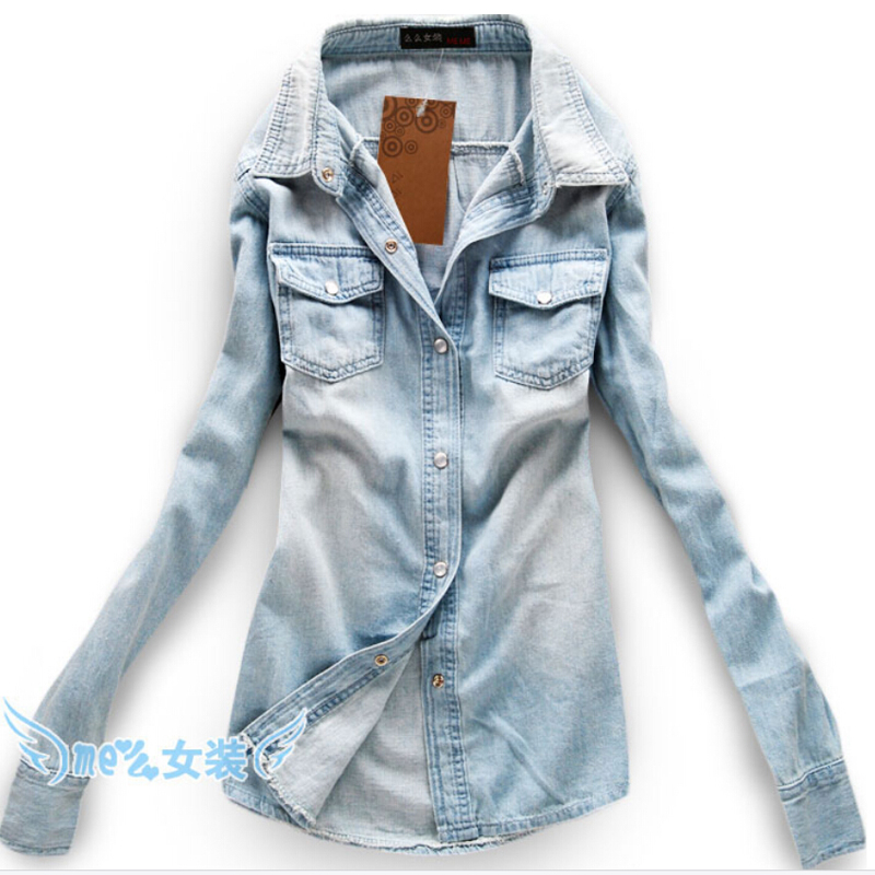 fb11eaedb54 Cotton Turn Down Collar Shirts Full Casual Shirts Women Camisa Jeans  Feminina Denim Shirt Cheap Clothes