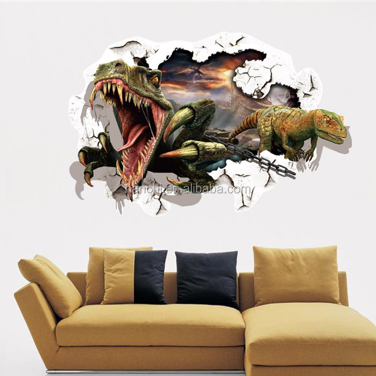 3d Window Through Wall Dinosaur Wall Stickers Decals Art Baby