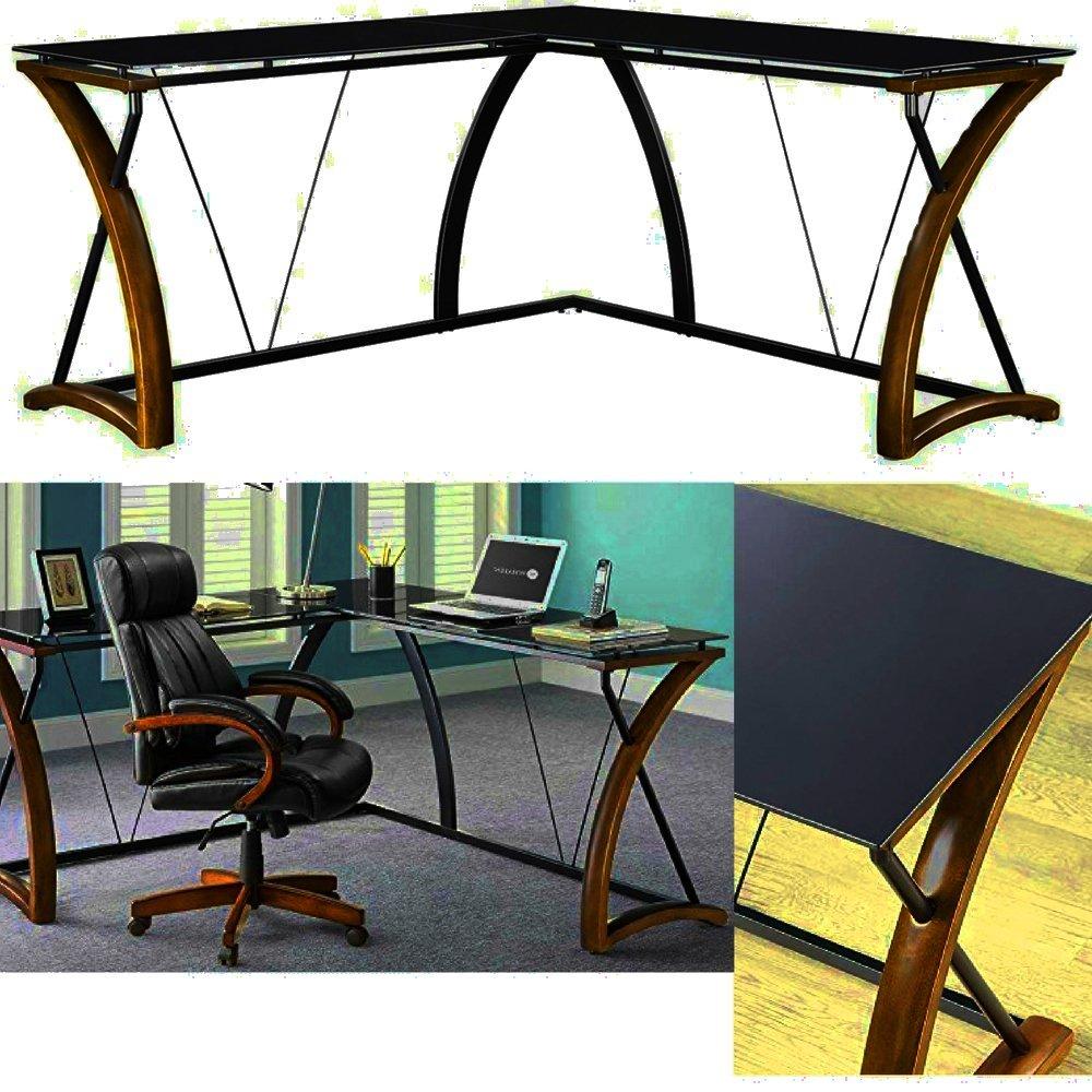 L-Shaped Glass Top Desk Wood Metal Frame Two Tone Cherry Black Large Corner Modern Sleek Curved Desk Top Laptop Computer Workstation Office Desk Furniture eBook by Easy&FunDeals