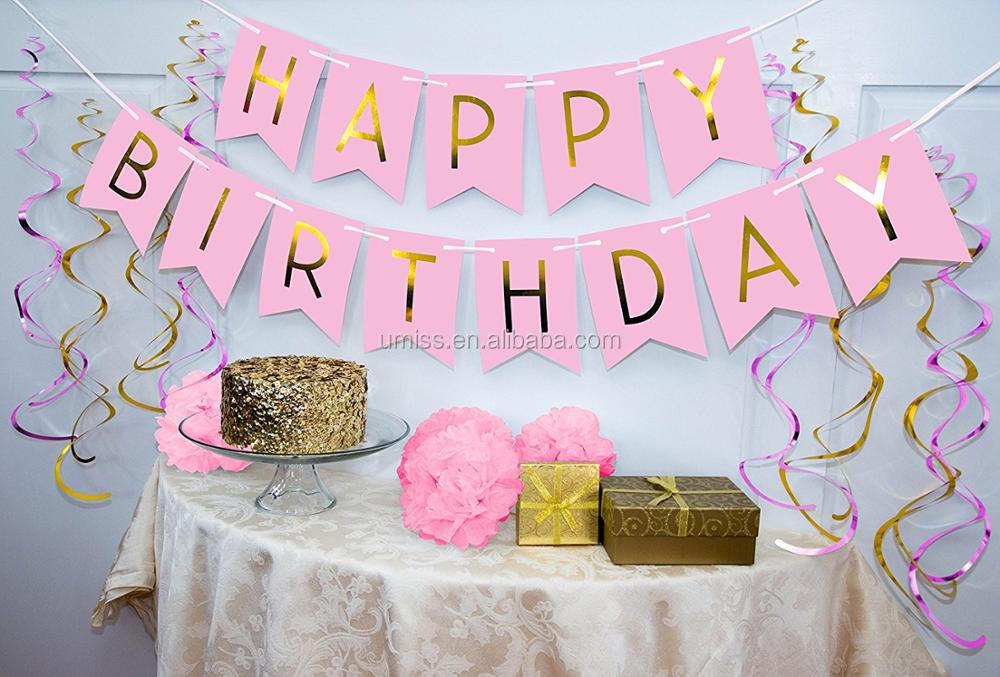 Birthday Party Pack Pastel Pink Happy Bunting Poms And Swirls