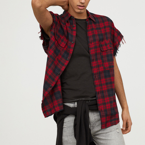 OEM Men Short Sleeve Plaid Print Flannel Shirts