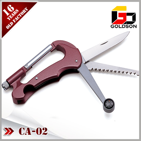 folding aluminium oxidation carabiner with combass & led