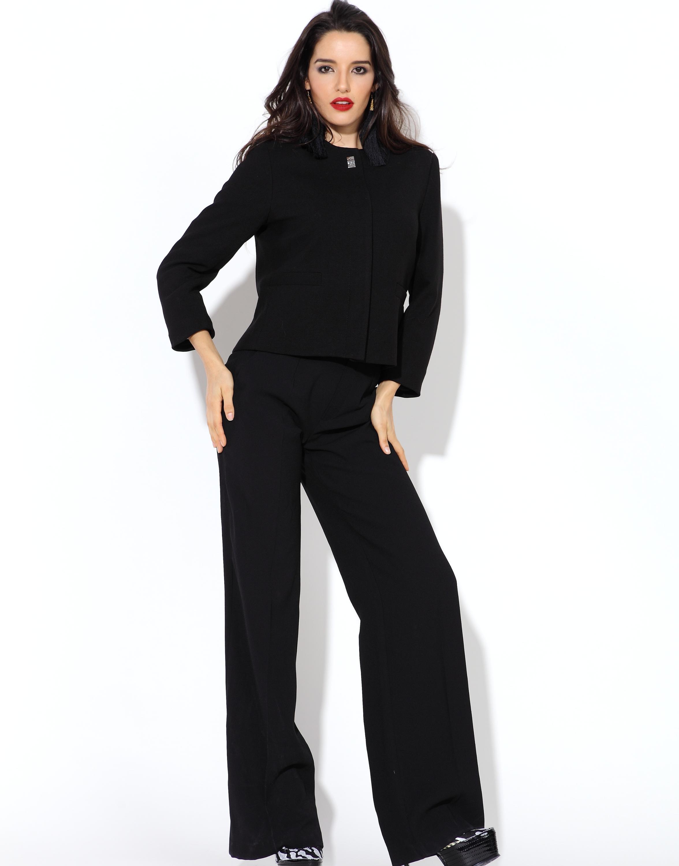 7645d1b1d503 Tamaño: personalizar Formal negro largo vestido de dama pantalones de moda  traje de pantalón para las mujeres de