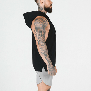 Mesh Patchwork Hooded Tank Tops Workout Bodybuilding Muscle Cut Off T Shirt Sleeveless Gym Hoodie In Bulk order