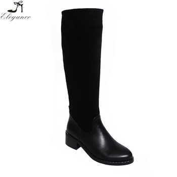 a0e2992b0ba Wholesale China waterproof ladies long rubber black boots flat knee high  heels leather horse riding boots
