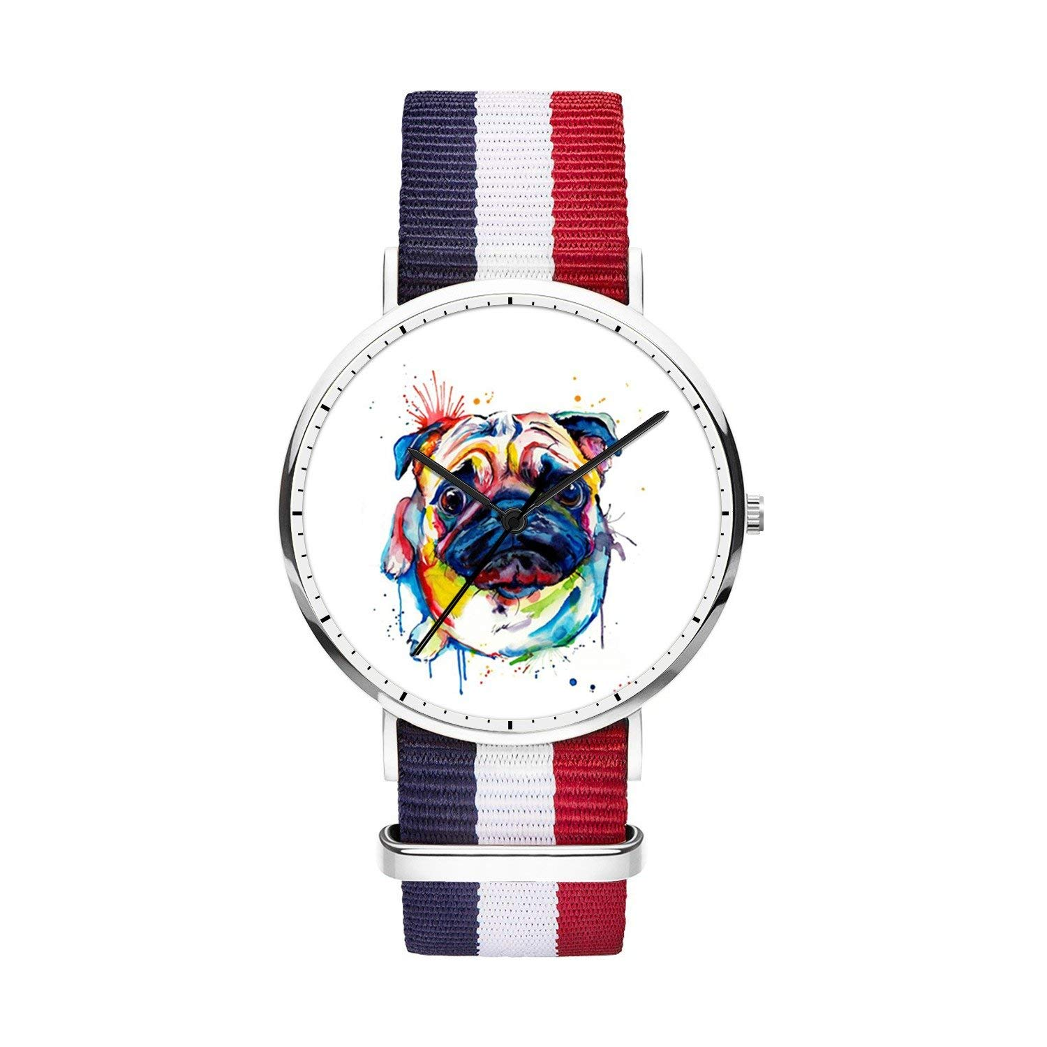 FELOOWSE Girls Watches, Women Watches, Sliver Slim Minimalist Imported Japanese Quartz Practical Waterproof Unique Personalized Youth Fashion Design Cute Watches for Women.- Pug