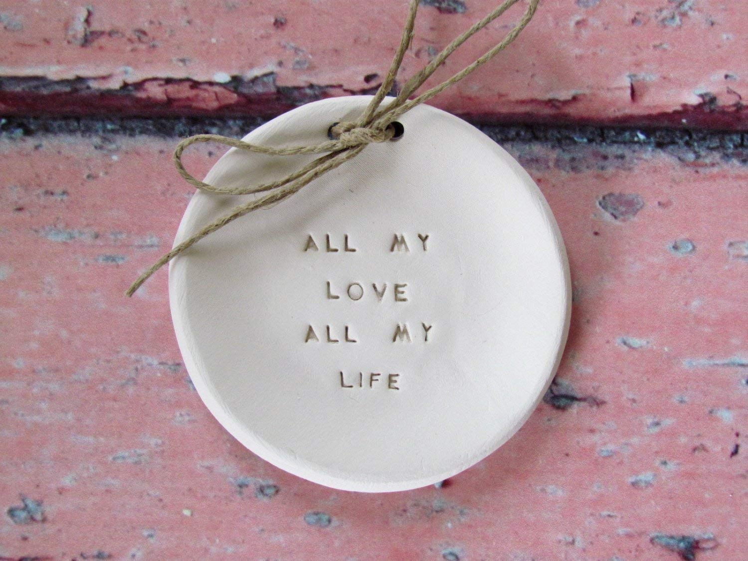 """Handmade Personalized """"All my love All my life"""" Engraved Ceramic Dish - Alternative Ring Bearer Pillow, Wedding Shower Gift, Engagement Gift, Valentine's Day Gift"""