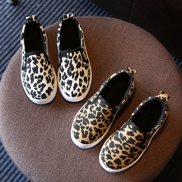 fashionable spring casual flat shoes girl leopard shoes 2017 shoes kids