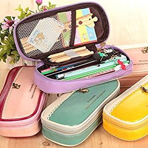 1 Piece/lot Korean Multi Function Pandent Pu Leather Pencil Case Big Capacity Pencil Bag Material