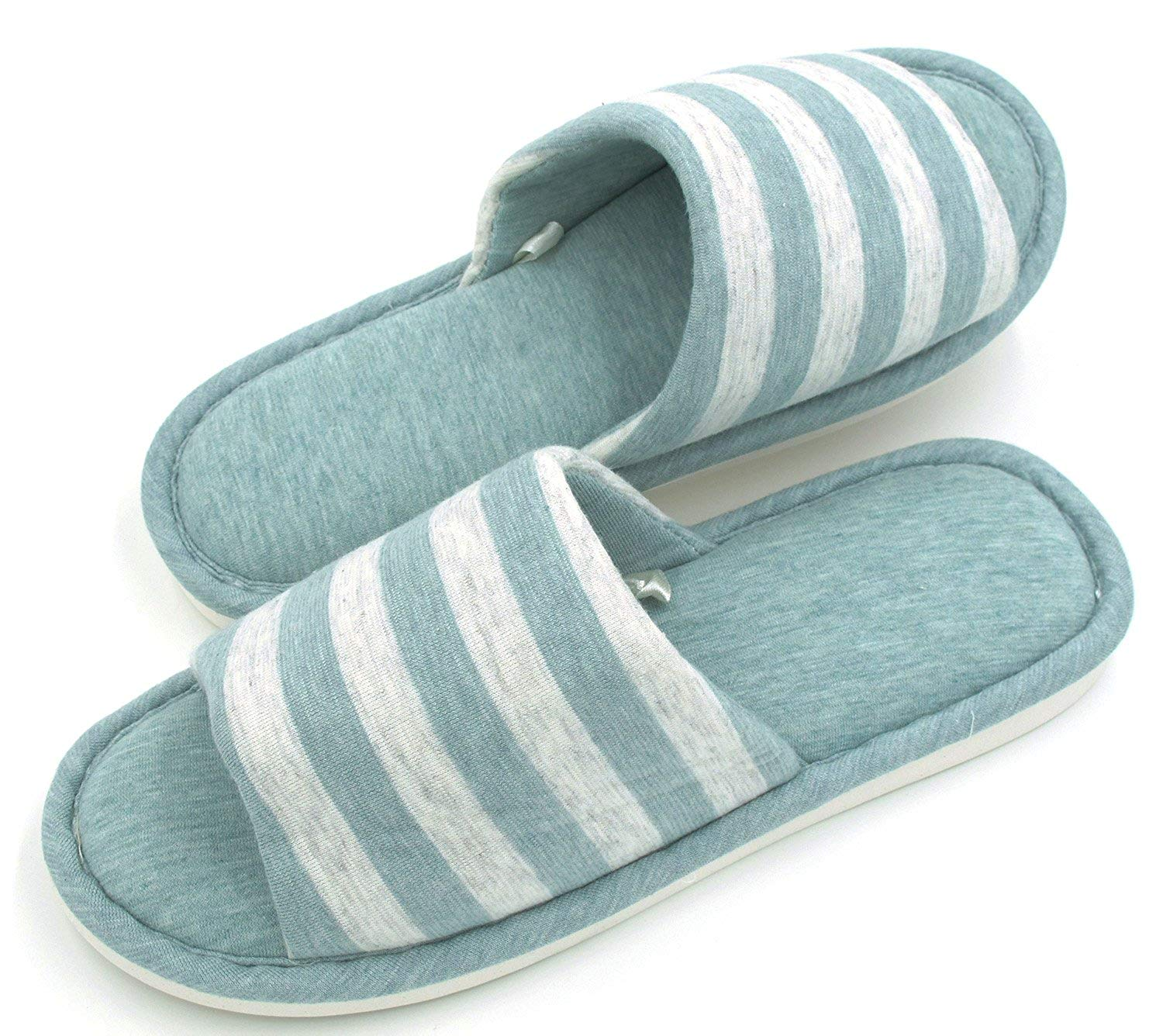 42994d68e43f0e Get Quotations · Sunshine Code Men s Women s Memory Foam Cotton Washable  Stripe Slippers for Travel House Hotel Spa Bedroom