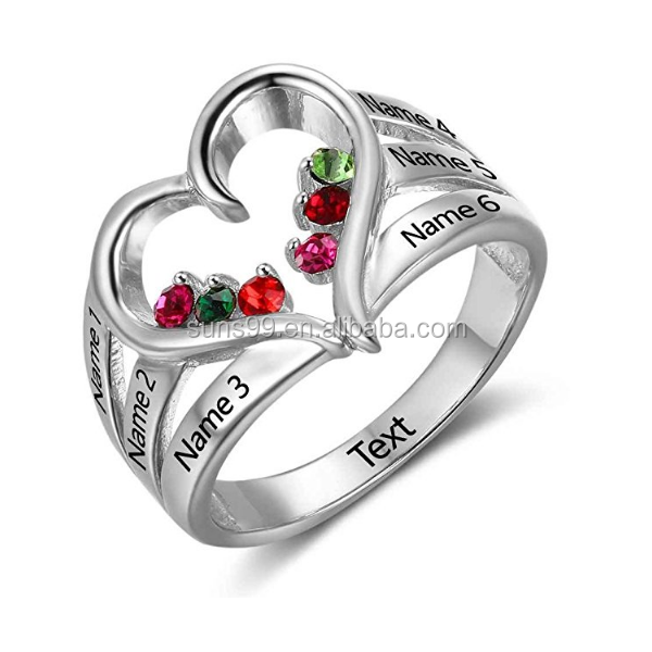 Personalized Mothers Ring for 6 Children with 6 Simulated Birthstone Custom Any Name Heart Family Jewelry