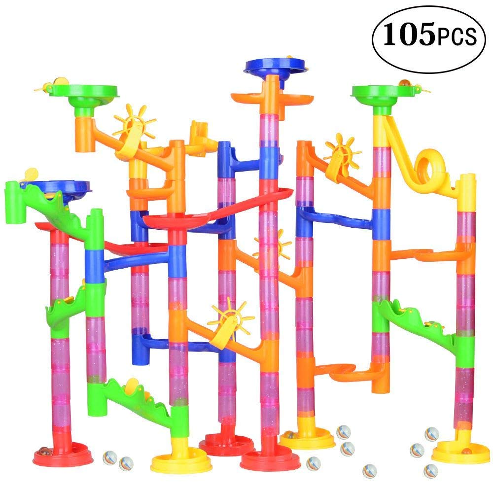 Meetdream Marble Run Toy Set, 105 Pcs Marble Maze Building Set - Educational Construction Building Blocks Toy Marble Run Race Coaster Maze Toys for Kids (75 Marbulous Pieces + 30 Glass Marbles)