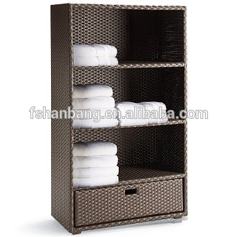 Beau Attractive Patio Garden All Weather Wicker Rattan Outdoor Towel Storage  Cabinet