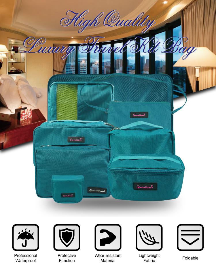 Hot Selling Lightweight  Nylon Travel  Bag Set Lightweight Luggage Travel Bag Organizer
