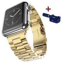 Для apple watch полосы серии 1/2/3 42 мм/38 мм Нержавеющаясталь браслет для наручных часов iwatch, 4 5 Смарт ремешок на запястье 40 мм 44 мм + инструмент(Китай)