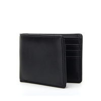 Slim Minimalist RFID Blocking Black Custom Leather Men's Bifold Wallet