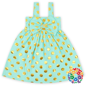 2016 Baby Girls Mint Green Dress Boutique Infant Gold Polka Dot ...