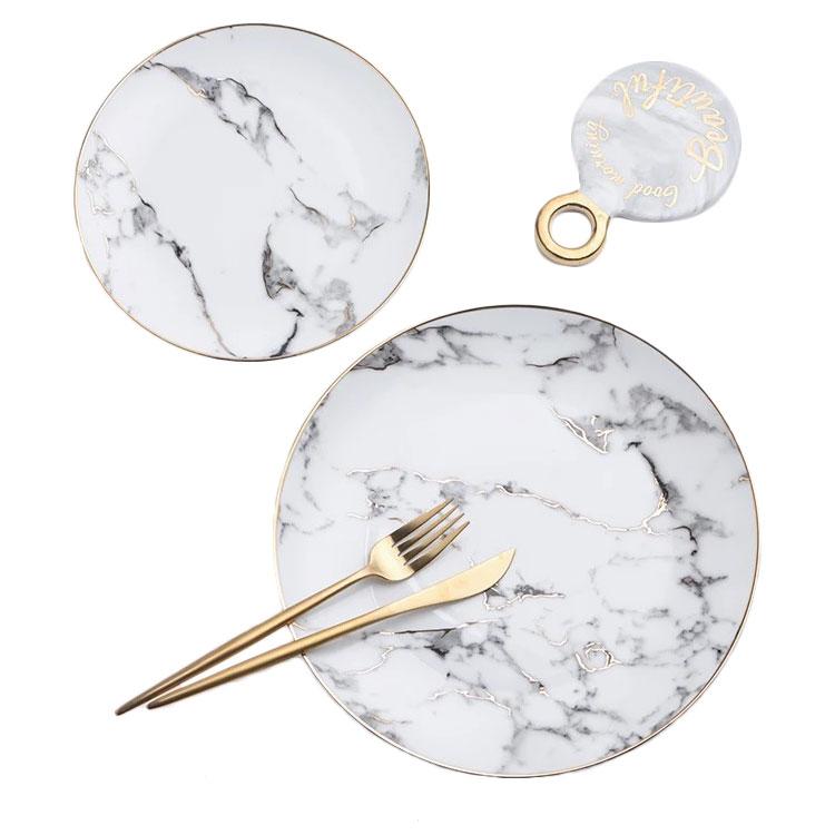 Zarif altın jant egzotik düğün yuvarlak gümüş jant mermer ucuz seramik servis örtüsü