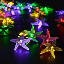 Solar String Light 20ft 30pcs Starfish LED Colorful Light Perfect Decoration for Christmas,Wedding,Gardon,Tree,Stage,Home,Party
