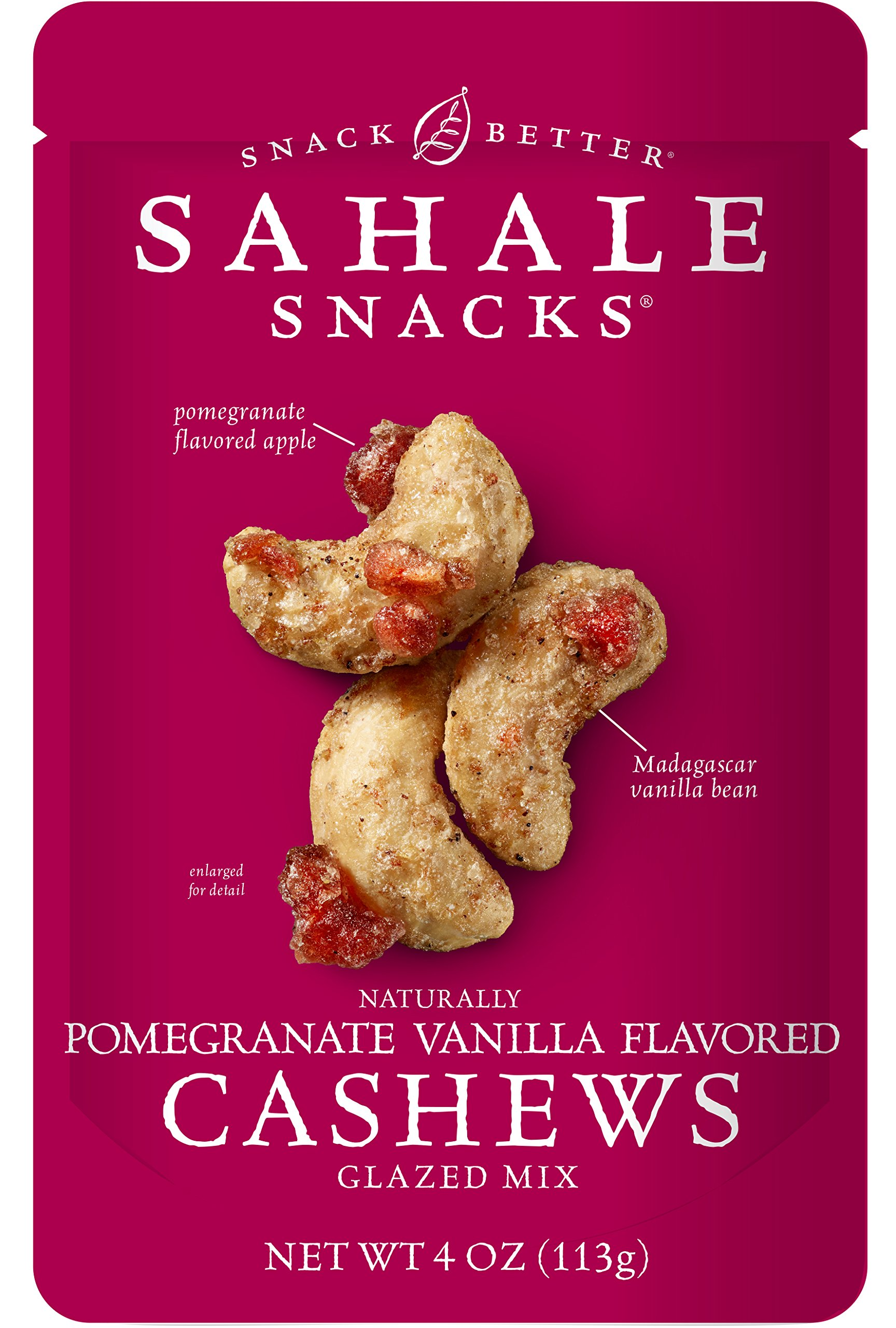 Sahale Snacks Pomegranate Vanilla Flavored Cashews Glazed Mix, 4 Ounce (Pack of 6)