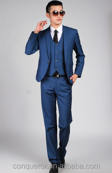 2015 New Trendy Men's Blue 3 Piece Dress Suits - Buy Modern Blue ...