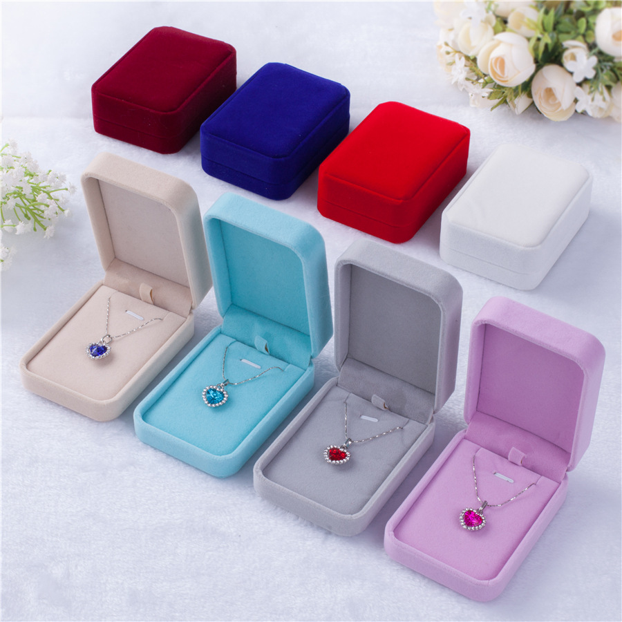 MN7 HuiLin Jewelry  Necklace pendant box flannelette jewelry box velvet box for jewelry