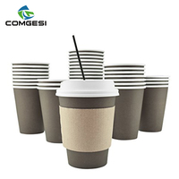 China best PLA PE paper coffee cups with lids and sleeve straw package customize supplier wholesale manufacture