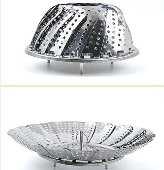 Premium Stainless Steel Vegetable Steamer Basket Folding Collapsible Vegetable  Steamer Insert