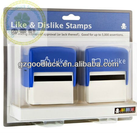 Custom personal like and dislike blue color rubber stamps set