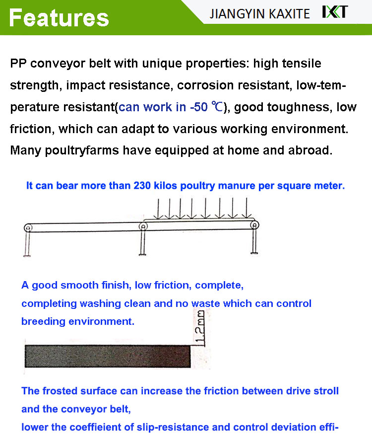 PP conveyor belt for poultry manure