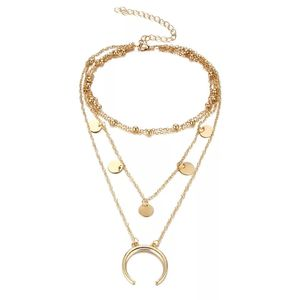 Fashion Chains Gold Choker Jewelry Pendant 5 Round Small Coin Multilayer Necklace With Moon