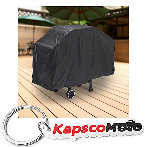"North East Harbor Deluxe Waterproof Barbeque BBQ Grill Cover Small 44"" Length Black - 100% Waterproof Barbecue Propane Gas Grill Winter Storage Cover + KapscoMoto Keychain"