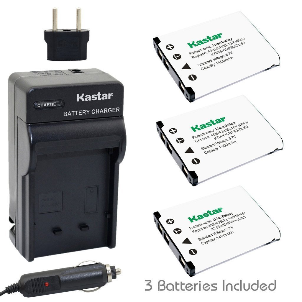 Kastar Battery (3-Pack) and Charger Kit for Nikon EN-EL10 MH-63 work with Nikon Coolpix S60, S80, S200, S210, S220, S230, S500, S510, S520, S570, S600, S700, S3000, S4000, S5100 Cameras